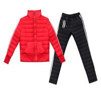 2018冬季新款韩版外套棉袄羽绒女套装大码加厚棉衣棉裤两件套 3X