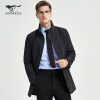 七匹狼风衣男士春秋季商务休闲男装时尚立领中长款帅气外套男潮流