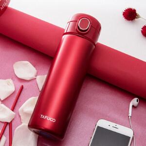 日本泰福高304不锈钢真空保温杯500ml 男女士学生水杯子少女商务直身杯T2344红色