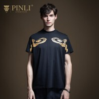 PINLI品立2020夏季新款男装修身圆领印花休闲短袖T恤衫B202111165