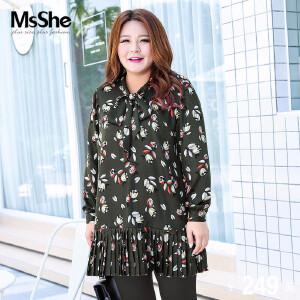 MsShe大码女装2017新款冬装胖mm蝴蝶结领印花衬衫雪纺衫M1740983