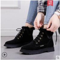 冬季新款加绒女短靴系带马丁靴英伦风学生保暖大棉鞋女鞋子潮