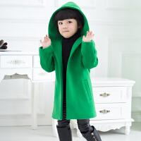 女童呢子大衣2017新款装韩版儿童毛呢外套中大童加厚中长款童装 绿色【不退换 夹棉加厚】