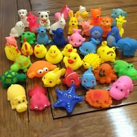 搪胶洗澡玩具宝宝洗澡玩具大小黄鸭子动物捏捏叫软胶戏水漂浮动物