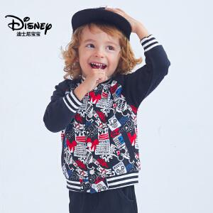 迪士尼宝宝重返学院男童针织徽章棒球外套2018秋款上新