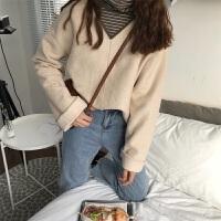秋冬女装新款韩版宽松显瘦V领套头毛边套头呢子上衣外套学生