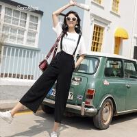 黑色吊带连体裤女2018夏季新款韩版学生时尚显瘦休闲背带九分裤潮