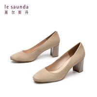 莱尔斯丹 春季圆头粗跟高跟中跟浅口职业女单鞋AM762