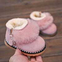 婴儿学步鞋季软底棉鞋女童短靴真皮公主宝宝靴子0-1岁2-3雪地靴 粉红色 15码内长约11.5CM
