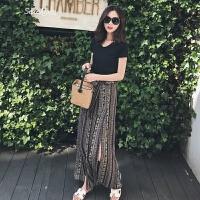波西米亚名媛时髦套装女夏装2018新款民族风雪纺高腰阔腿裤两件套 黑色上衣+半身裙