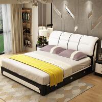 床床主卧1.8米双人床小户型现代简约储物床1.5米单人床 +三抽屉+乳胶床垫