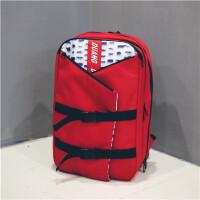 时尚潮流英伦风背包校园男女大学生电脑包纯色书包水个性双肩包 水可开盖多个兜 红色
