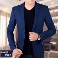 2018秋季薄款帅气中年男士休闲小西装男套装修身韩版西服潮流外套
