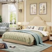 美式布艺床 实木1.8米北欧现代简约软床 主卧家具婚床1.5双人床 +床垫+床头柜*2