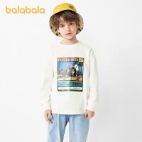 【4.19书香节 4件4折:40】巴拉巴拉童装男童长袖t恤儿童上衣男孩打底衫潮酷印花男