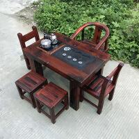 功夫茶几客厅小茶桌老船木小茶桌椅仿古阳台茶几实木迷你桌户外功夫茶桌客厅茶台 整装