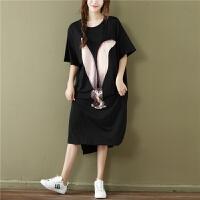 200斤穿宽松大码薄款纯棉睡裙夏季胖mm孕妇可外穿韩版卡通睡衣女