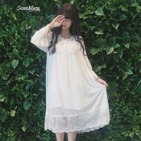 春装女装新款韩版小清新宫廷风长袖蕾丝网纱拼接百褶公主睡裙长裙 白色 均码