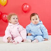 【2件3折到手价:69.6】贝贝怡婴儿连体衣加绒保暖宝宝棉服哈衣爬服164L080
