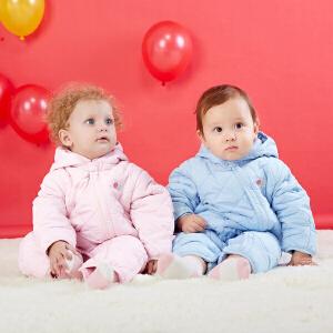 贝贝怡婴儿连体衣加绒保暖宝宝棉服哈衣爬服164L080