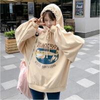 秋季女装韩版中长款原宿风宽松卡通抽绳连帽长袖套头卫衣上衣外套 均码