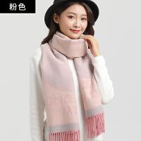 围巾女冬季长款加厚韩版学生仿羊绒披肩 纯色条纹流苏围脖