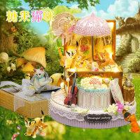 创意diy小屋糖果猫咪手工制作房子模型拼装建筑送女生生日礼物