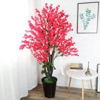仿真桃花盆栽植物室内花大型桃树落地绿植摆件客厅装饰塑料假盆景
