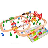 托马斯100件木制轨道3岁以上儿童拼接轨道玩具赠火车头