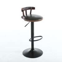 吧台椅铁艺凳子高脚前台椅升降酒吧椅实木靠背椅子美式家用凳 深黑色 升级款