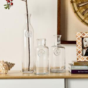 【每满100减50】幸阁 插花复古斐恰尔式透明玻璃花瓶 饰家家居客厅插花摆件
