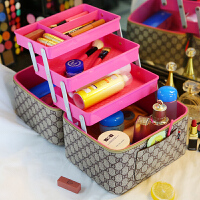 2018化妆包大容量多功能便携简约护肤品收纳盒双层手提化妆箱男女