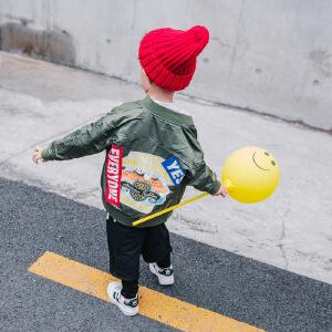 童装2019春秋季新款男童老鹰夹克衫外套中大童休闲运动外套