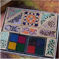 韩国文具 方形复古花边印章 赠四色印泥 2个 2016203