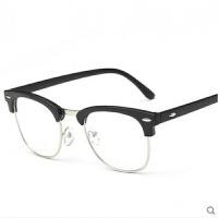 复古半框平光镜小清新文艺大框镜架男女平面防蓝光眼镜