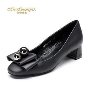金粉世家 红蜻蜓旗下 秋季新款方头粗跟单鞋浅口蝴蝶结牛皮女鞋