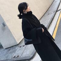 2018秋冬新款流行呢子大衣女中长款过膝韩版宽松廓形黑色毛呢外套