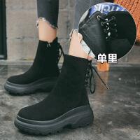 复古松糕厚底原宿马丁靴女英伦风秋冬季加绒女鞋新款机车靴短靴女