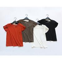 A454特日单品牌客供面料钉珠短袖T类雪纺衫