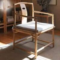 新中式茶椅实木餐椅明式椅子禅意太师椅老榆木官帽椅子圈椅三件套