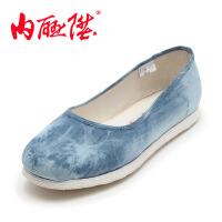 内联升 女布鞋 手工千层底 海之蓝单鞋 时尚休闲 老北京布鞋 8206A