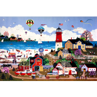 1000片木质拼图500 创意卡通动漫 幸福温馨小镇 灯塔