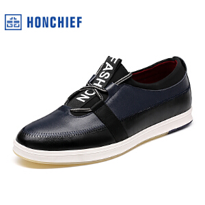 HONCHIEF 红蜻蜓旗下 秋季新款男士真皮潮流男士休闲拼接低帮单鞋