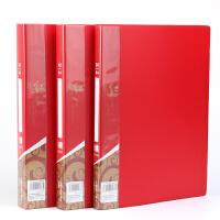红色资料册60/80/100透明插页袋A4多层分页学生试卷袋乐谱夹