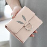 新款2018新款钱包女短款韩版学生圆环三折兔耳装饰小清新零钱包