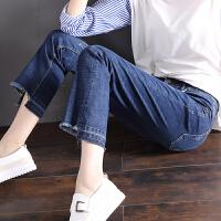 Freefeel2018春夏新款牛仔裤女装韩版时尚显瘦微喇叭裤不对称九分裤oy3080