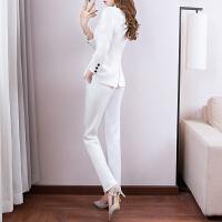 秋冬职业白色小西装套装女2018新款时尚英伦风气质西服洋气两件套 白色 长袖套装