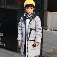 儿童羽绒服男童女童中长款加厚外套韩版中大童连帽羽绒服