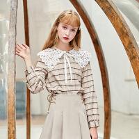 毛菇小象甜美套装女2019秋新款高腰半身裙蕾丝拼接娃娃领格子衬衫