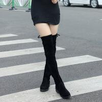 2018秋冬季女式长筒靴子欧美英伦时尚骑士靴圆头中跟方跟女靴